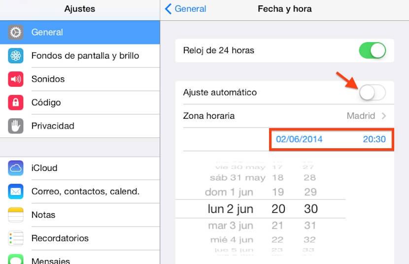 Cambiar fecha iOS