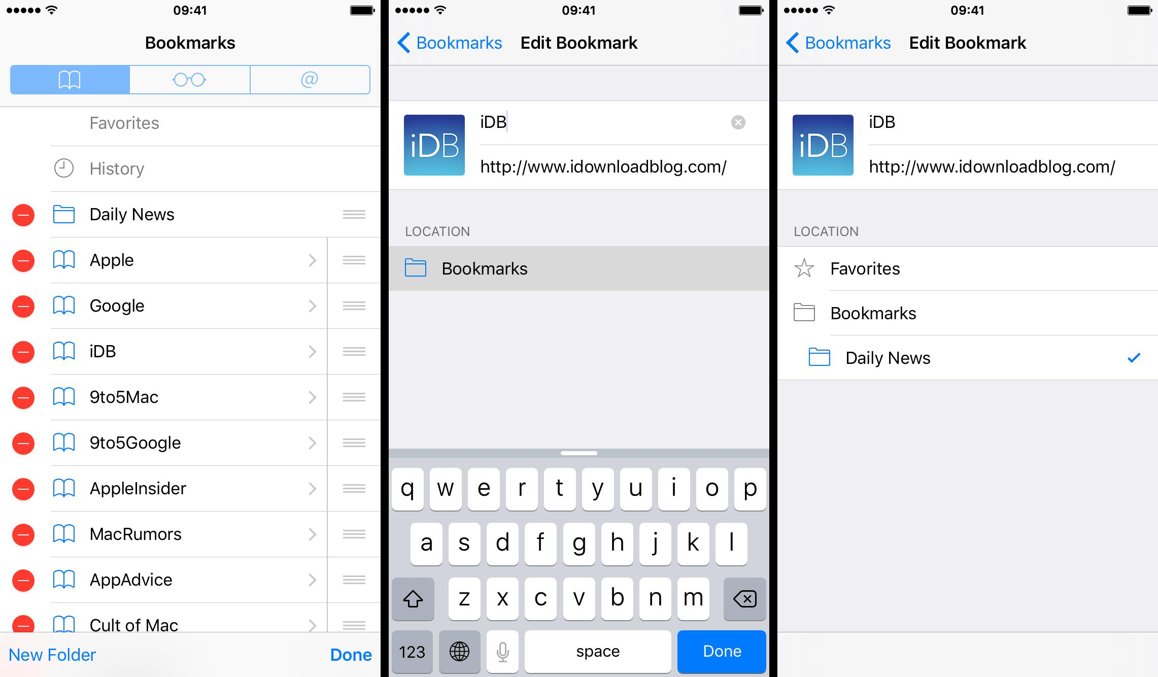 Crear y guardar marcador en carpeta iOS