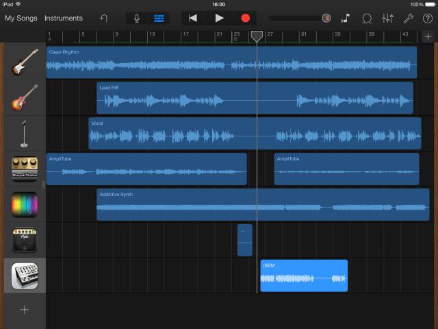 GarageBand iOS interfaz de usuario