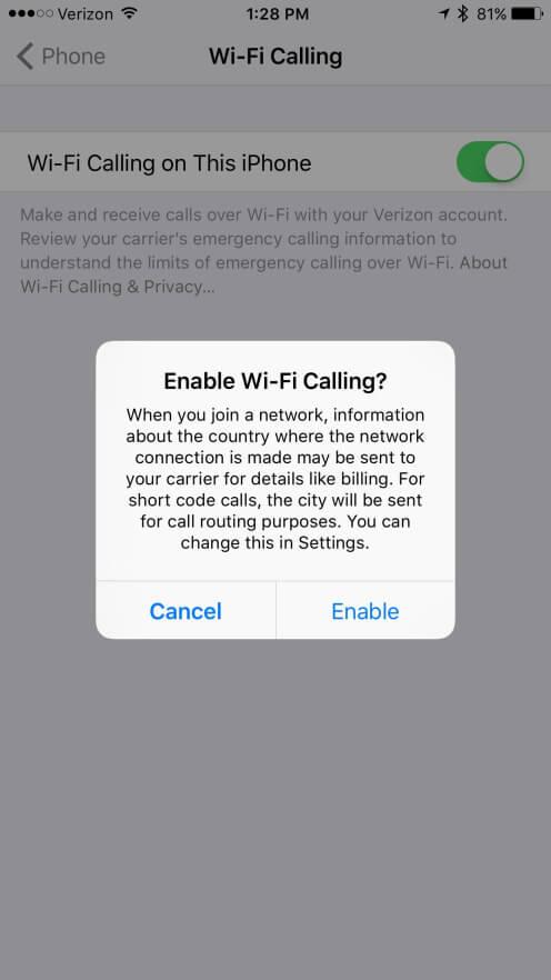 Llamadas por wi-fi Verizon