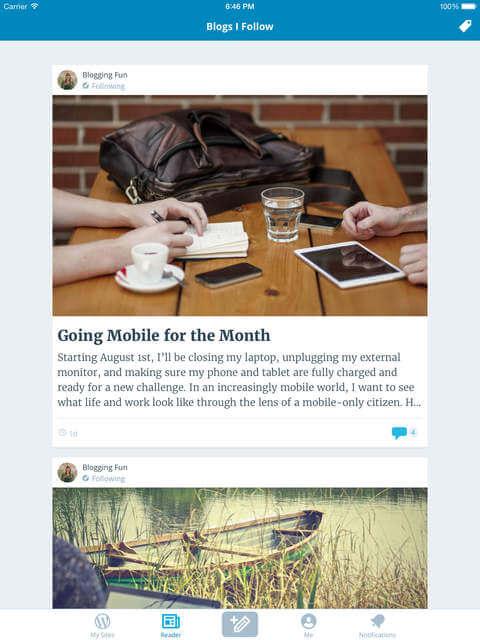 Nueva actualización de WordPress para iOS