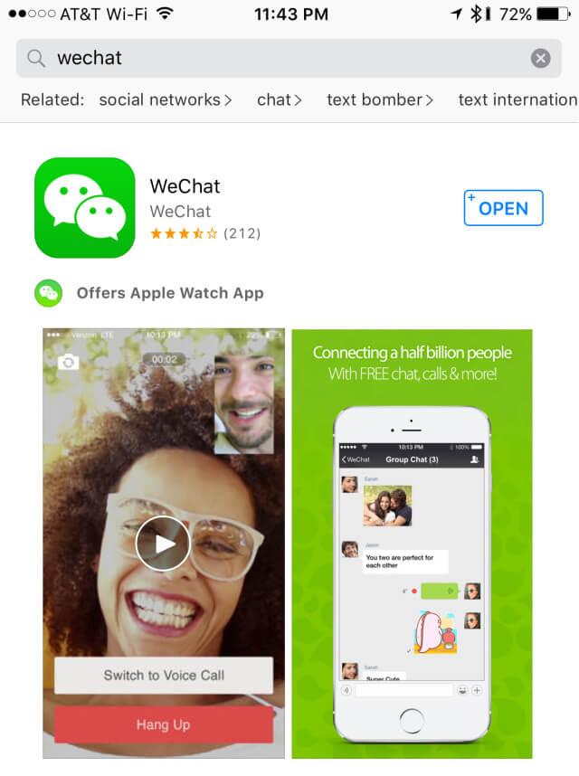 buscar la aplicación WeChat