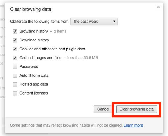 """la opción """"Eliminar datos de navegación"""""""