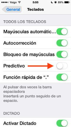 3. Desactivar Predictive