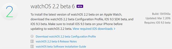 Apple libera la sexta beta de WatchOS 2.2 para desarrolladores
