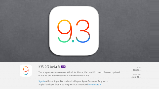 Apple revela su sexta beta para iOS 9.3 - copia