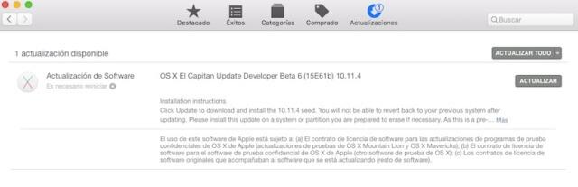 La sexta beta de OS X 10.11.4 ya se encuentra disponible para los desarrolladores - copia