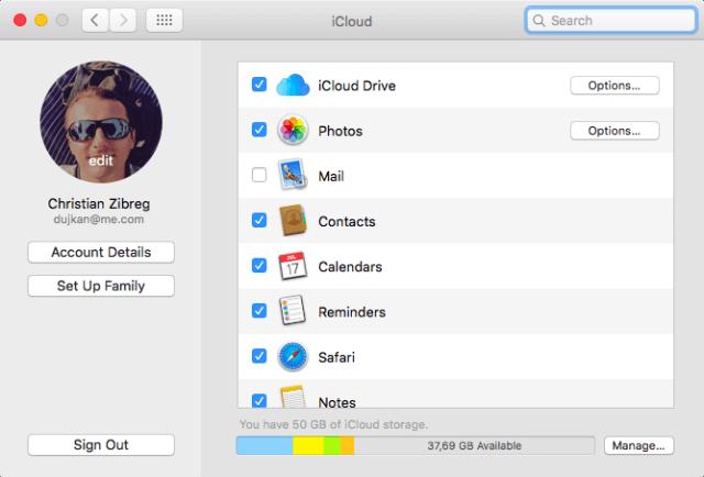 Panel Preferencia del sistema - iCloud Mac