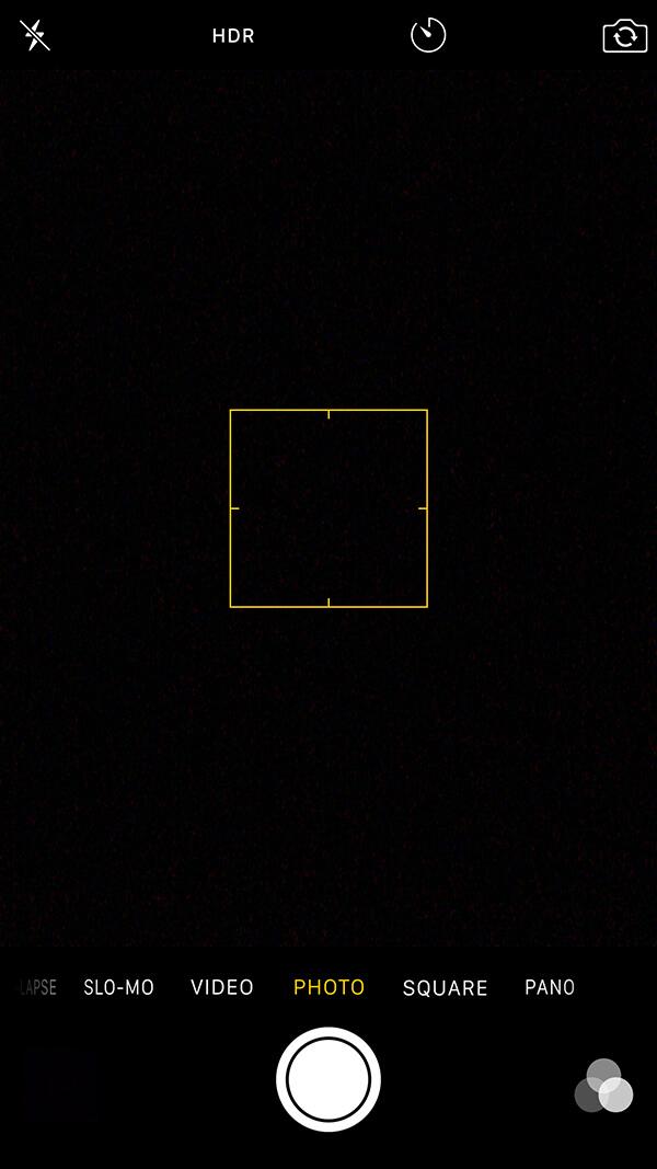Pantalla oscura en la app de la camara