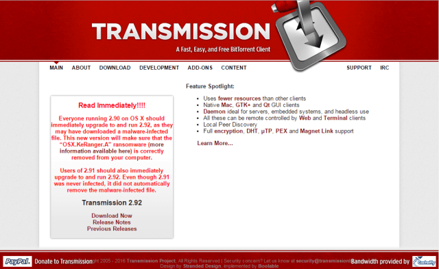 Transmission KeyRanger ransomware
