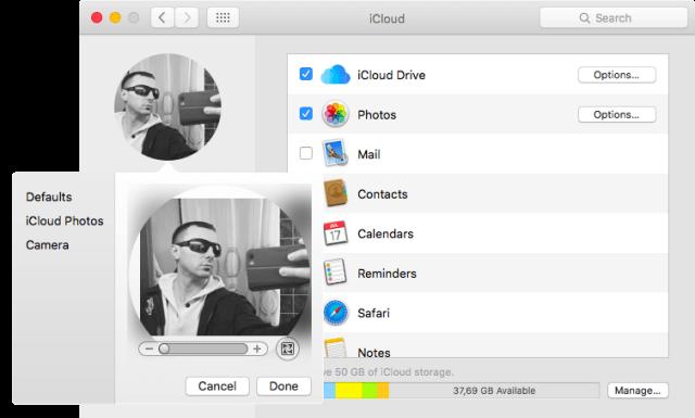 modificar imagen panel de iCloud Mac