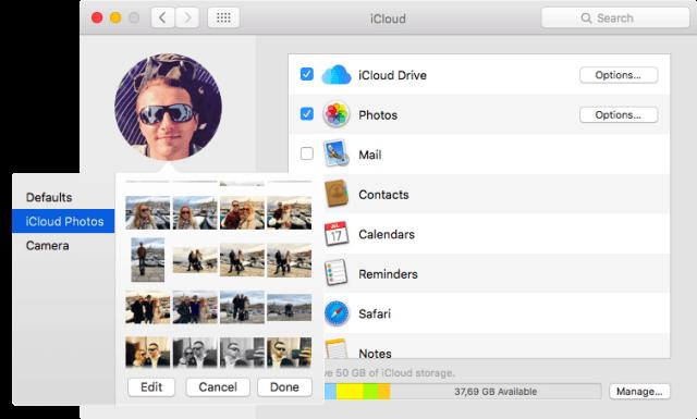 selecciona de nueva imagen en panel de iCloud Mac