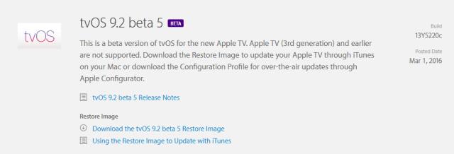 tvOS 9.2 beta 5