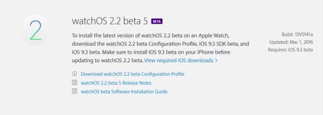 watchOS 2.2 beta 5