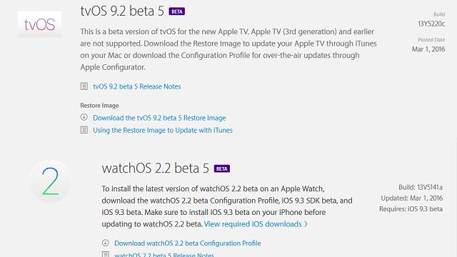 watchOS 2.2 beta 5 y tvOS 9.2 beta 5
