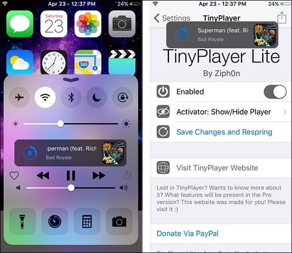 TinyPlayer-Lite-iOS-9-Cydia-Tweak-for-iPhone