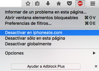 Menú de Adblock Plus, elegir la opción Desactivar en iphoneate.com