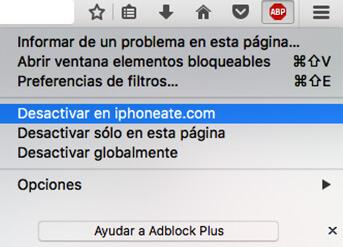 Menú de Adblock Plus, elegir la opción Desactivar en iphoneate.com