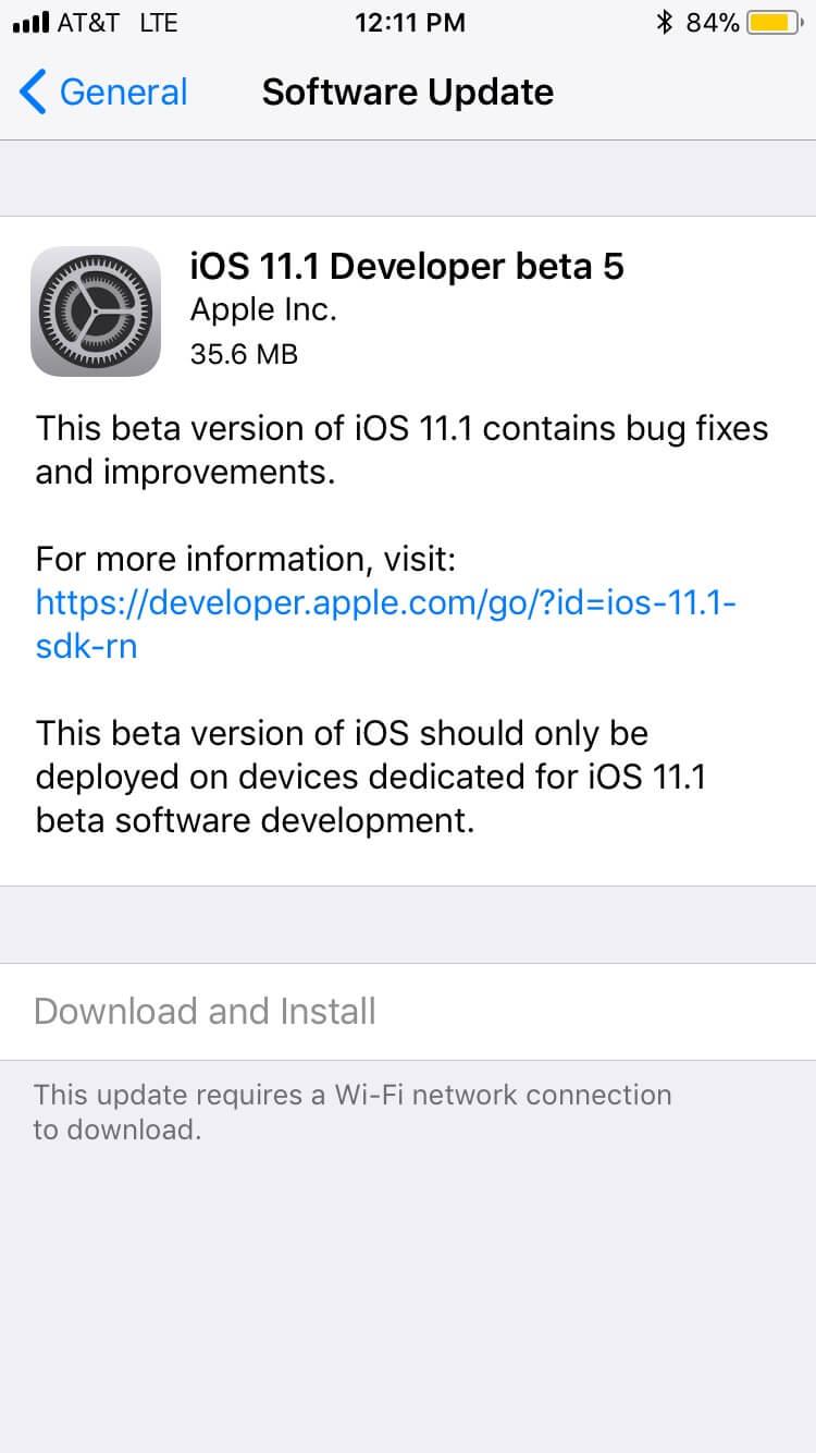 iOS 11.1 Beta 5 Desarrolladores