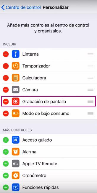 Grabación Pantalla iPhone X