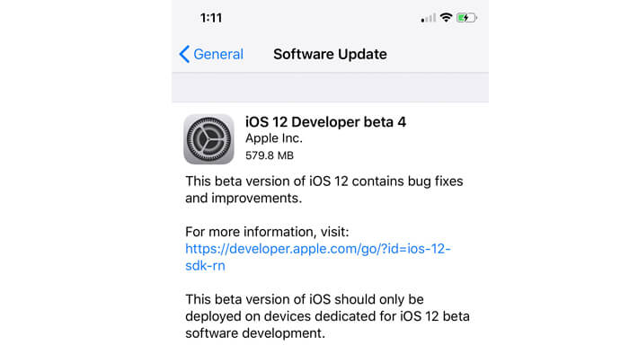 iOS doce Beta 4